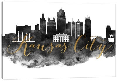 Kansas City in Black & White Canvas Art Print