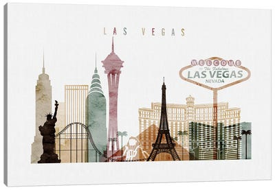 Las Vegas Watercolor I Canvas Art Print