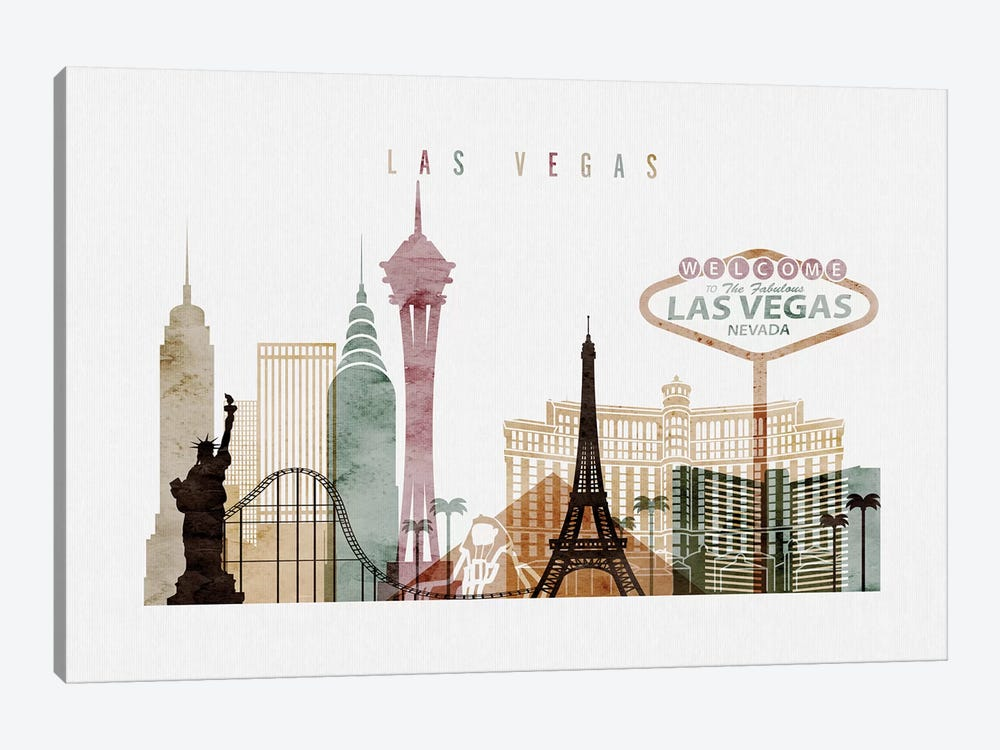 Las Vegas Watercolor I by ArtPrintsVicky 1-piece Canvas Art