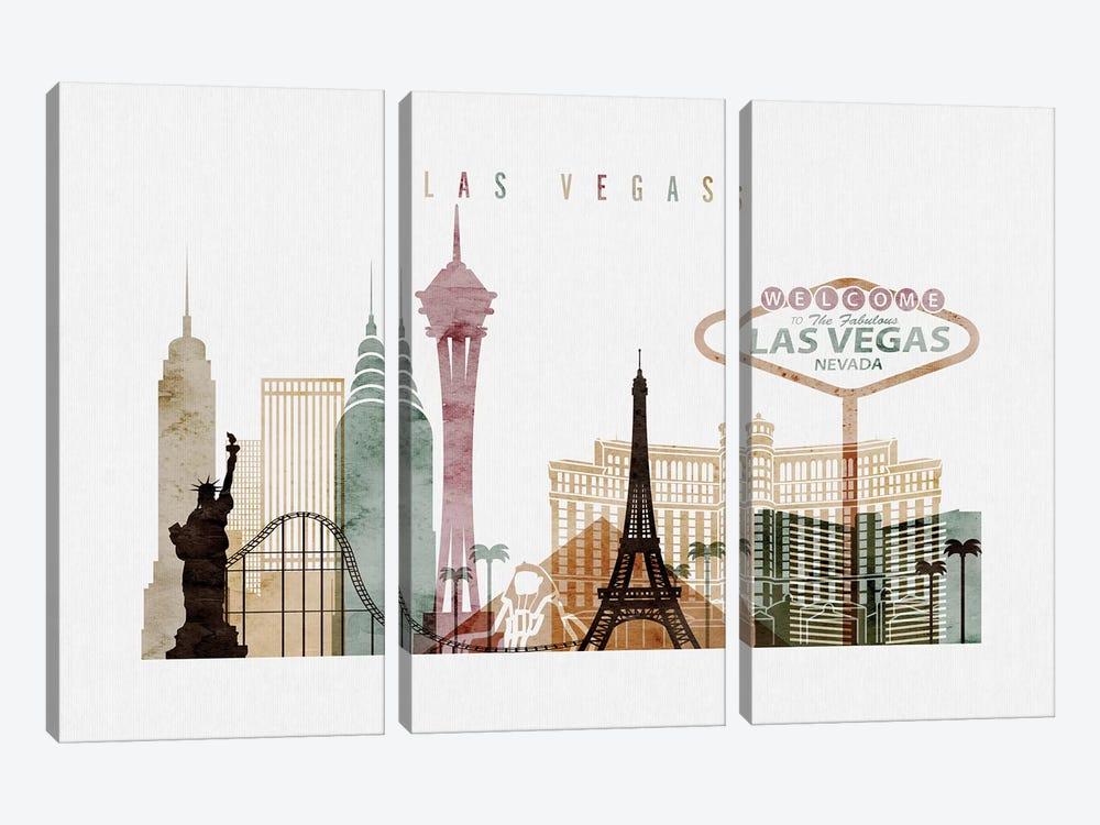 Las Vegas Watercolor I by ArtPrintsVicky 3-piece Canvas Wall Art