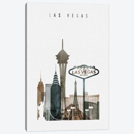 Las Vegas Watercolor II Canvas Print #APV42} by ArtPrintsVicky Canvas Wall Art