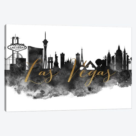 Las Vegas in Black & White Canvas Print #APV43} by ArtPrintsVicky Canvas Artwork