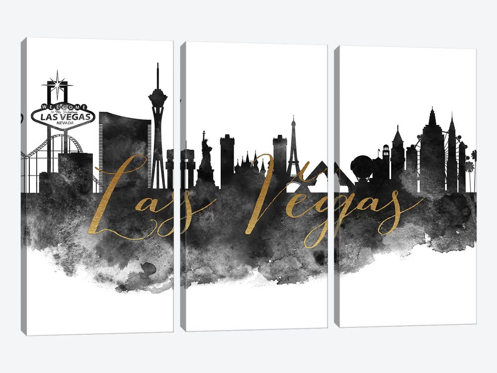 Las Vegas in Black & White by ArtPrintsVicky 3-piece Canvas Artwork