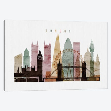 London Watercolor II Canvas Print #APV45} by ArtPrintsVicky Art Print