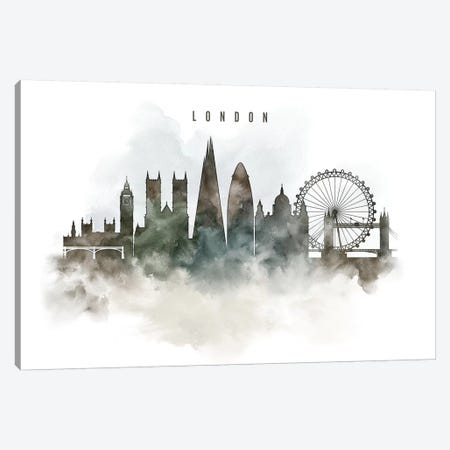 London Watercolor Cityscape Canvas Print #APV47} by ArtPrintsVicky Art Print