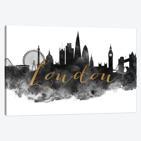 London in Black & White Canvas Print #APV48} by ArtPrintsVicky Canvas Wall Art