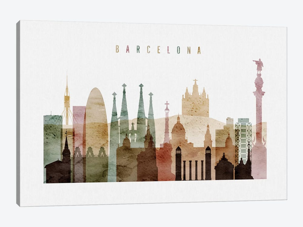 Barcelona Watercolor I by ArtPrintsVicky 1-piece Canvas Artwork