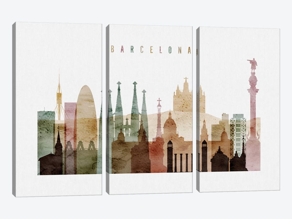 Barcelona Watercolor I by ArtPrintsVicky 3-piece Canvas Artwork
