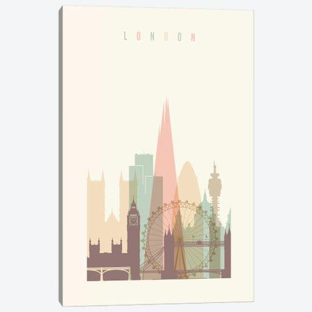 London Pastels in Cream Canvas Print #APV50} by ArtPrintsVicky Canvas Art Print