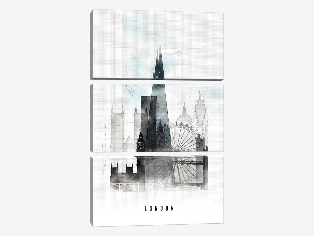 London Urban by ArtPrintsVicky 3-piece Canvas Art Print