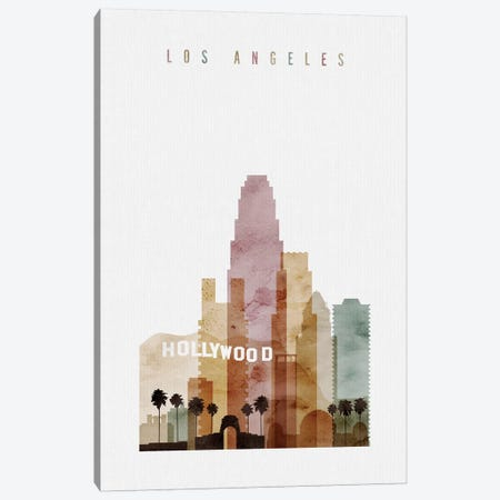Los Angeles Watercolor I Canvas Print #APV53} by ArtPrintsVicky Canvas Art Print