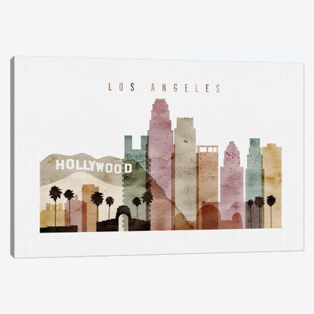 Los Angeles Watercolor II Canvas Print #APV54} by ArtPrintsVicky Canvas Wall Art