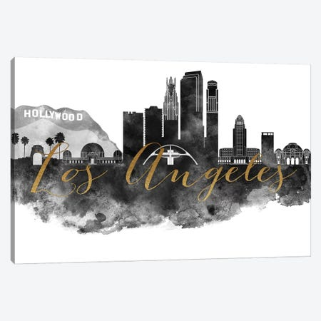 Los Angeles in Black & White Canvas Print #APV56} by ArtPrintsVicky Canvas Art