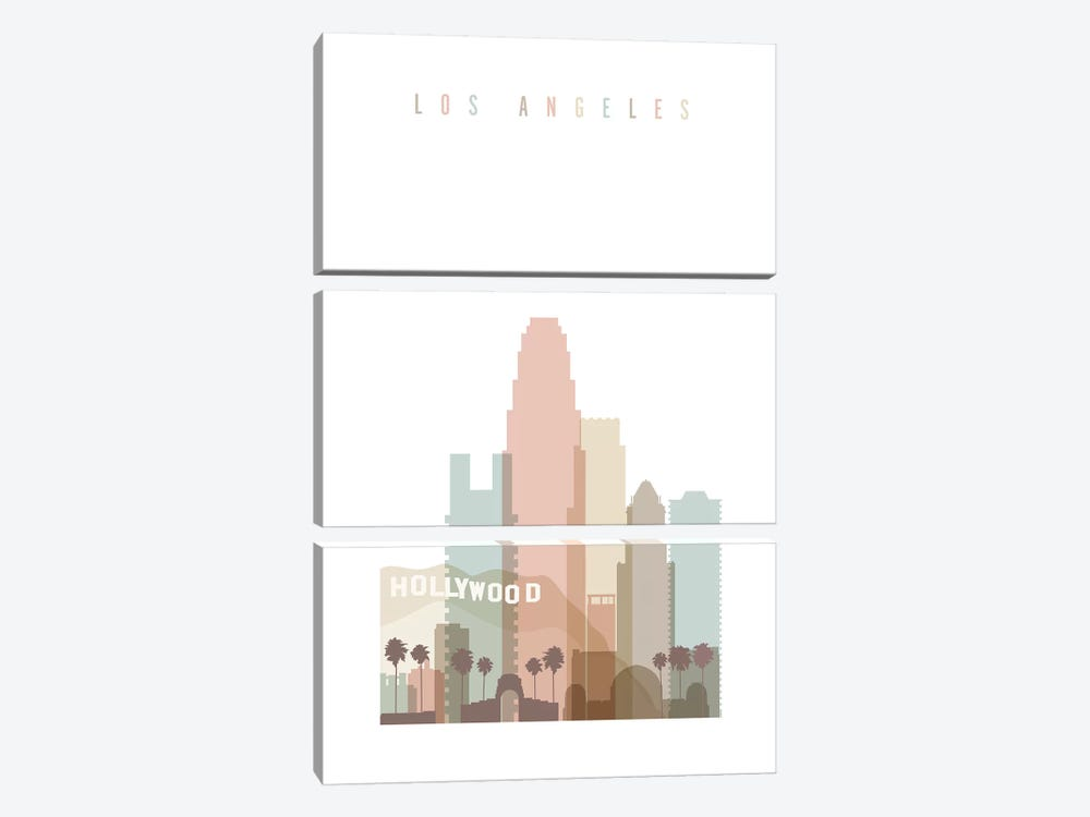 Los Angeles Pastels in White by ArtPrintsVicky 3-piece Art Print