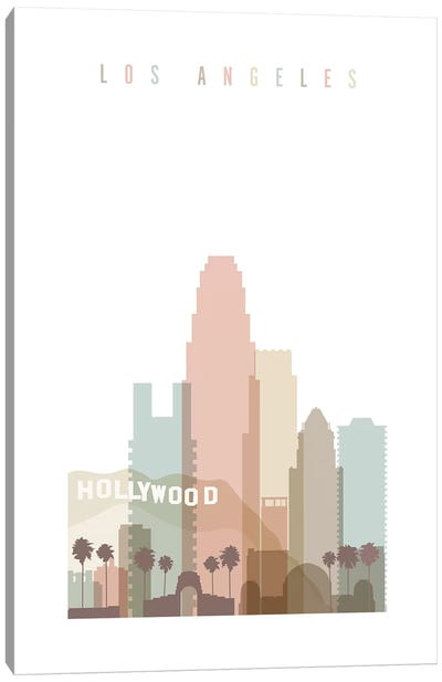 Los Angeles Pastels in White Canvas Art Print