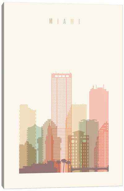 Miami Pastel in Cream Canvas Art Print