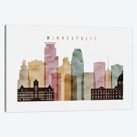 Minneapolis Watercolor Canvas Print #APV59} by ArtPrintsVicky Canvas Art Print