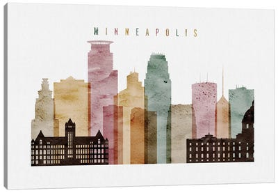 Minneapolis Watercolor Canvas Art Print