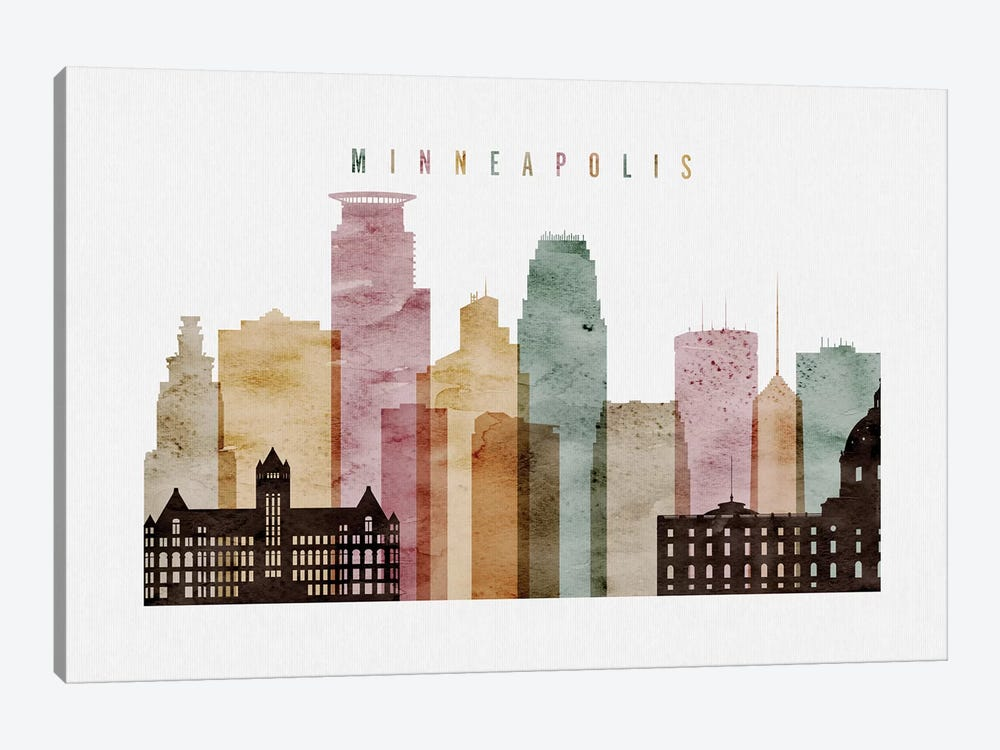 Minneapolis Watercolor by ArtPrintsVicky 1-piece Canvas Print