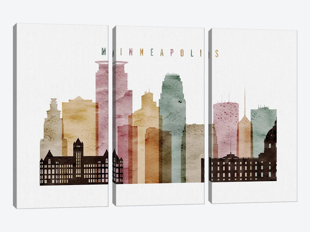 Minneapolis Watercolor by ArtPrintsVicky 3-piece Canvas Print