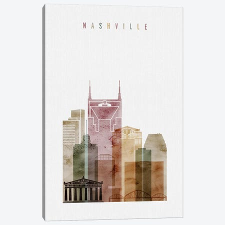 Nashville Watercolor Canvas Print #APV60} by ArtPrintsVicky Canvas Artwork