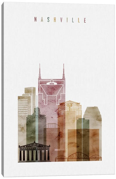 Nashville Watercolor Canvas Art Print