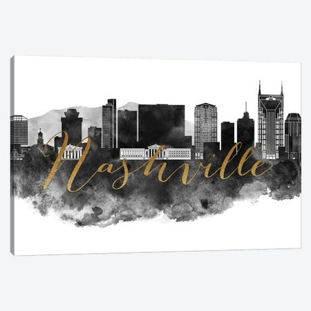 Nashville in Black & White Canvas Print #APV61} by ArtPrintsVicky Canvas Art