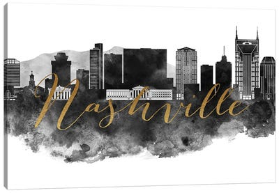 Nashville in Black & White Canvas Art Print