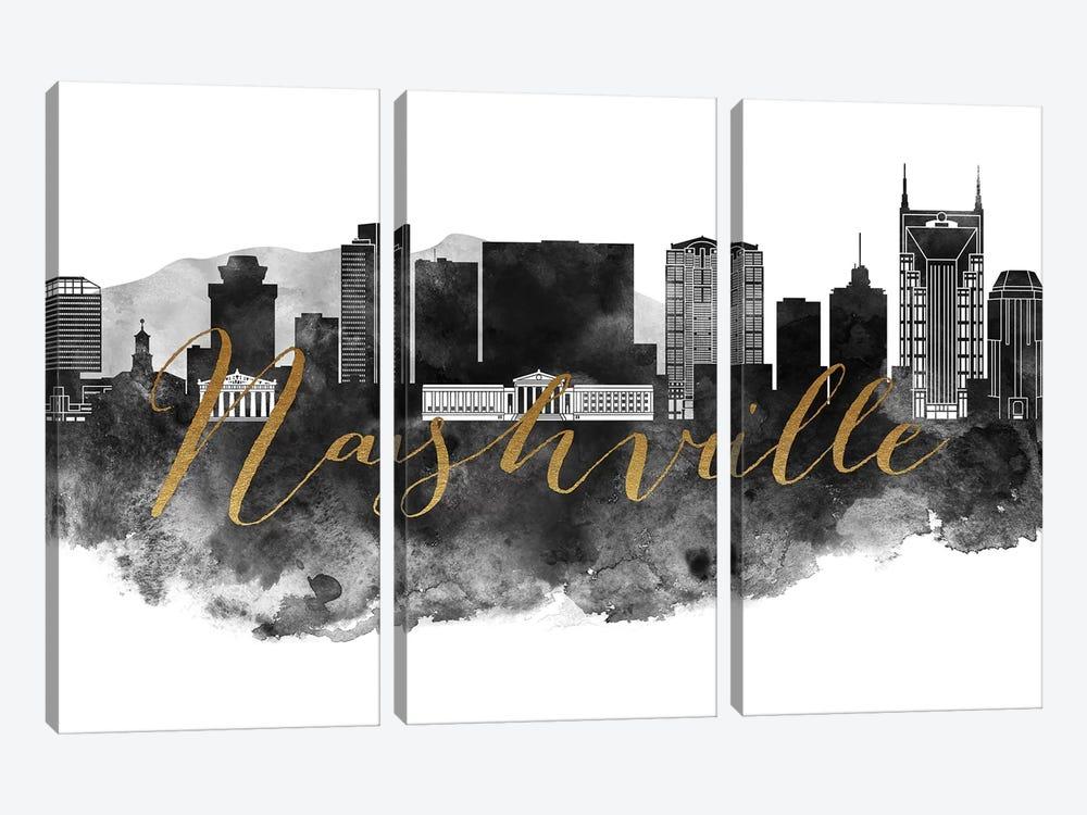 Nashville in Black & White by ArtPrintsVicky 3-piece Canvas Wall Art