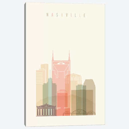Nashville Pastels in Cream Canvas Print #APV62} by ArtPrintsVicky Canvas Wall Art