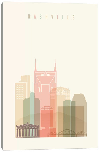 Nashville Pastels in Cream Canvas Art Print