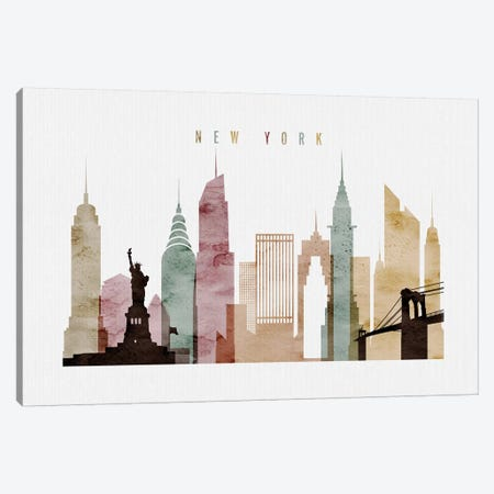 New York Watercolor Canvas Print #APV63} by ArtPrintsVicky Canvas Wall Art