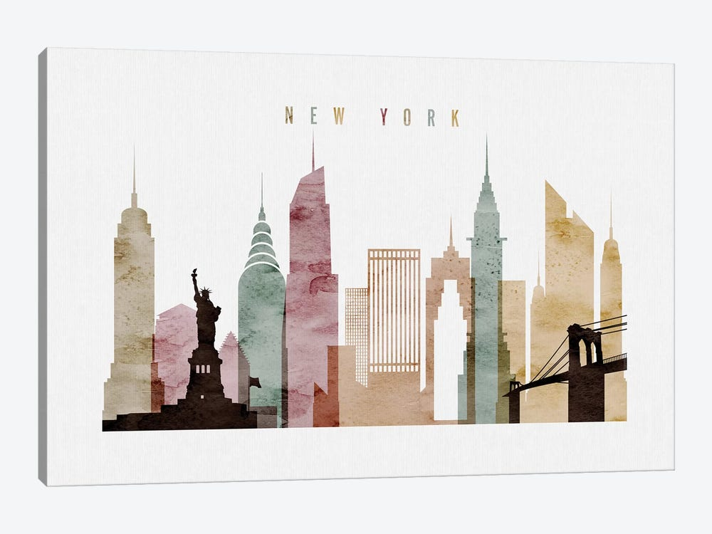 New York Watercolor by ArtPrintsVicky 1-piece Canvas Art