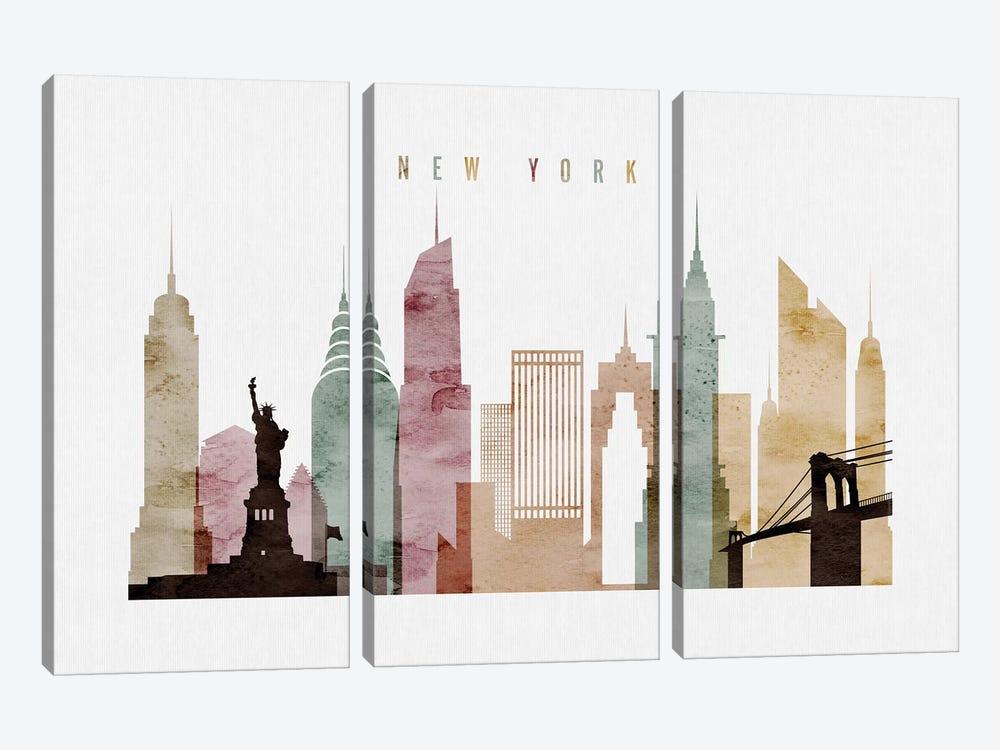 New York Watercolor by ArtPrintsVicky 3-piece Canvas Art