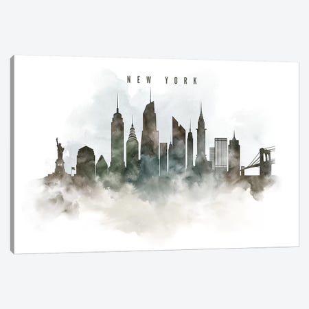 New York Watercolor Cityscape Canvas Print #APV64} by ArtPrintsVicky Canvas Art Print