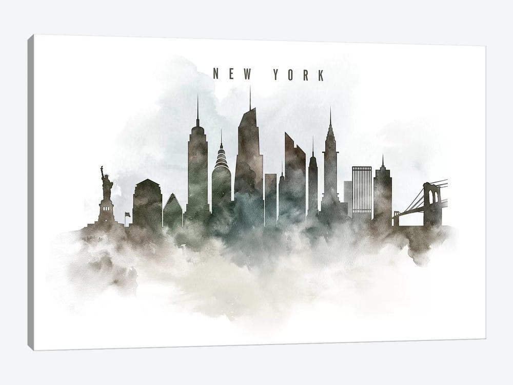 New York Watercolor Cityscape by ArtPrintsVicky 1-piece Canvas Art Print