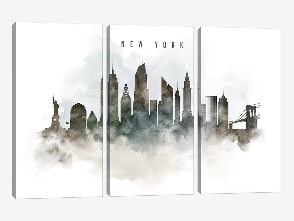 New York Watercolor Cityscape by ArtPrintsVicky 3-piece Art Print