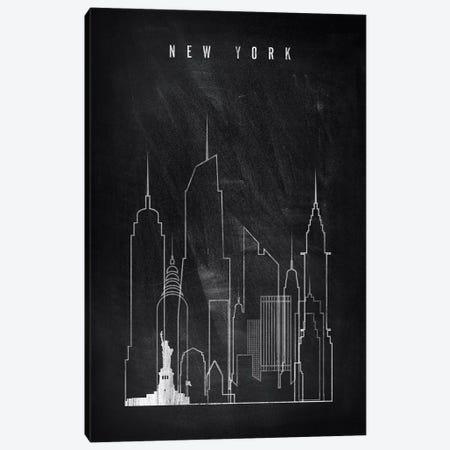 New York Chalkboard Canvas Print #APV65} by ArtPrintsVicky Canvas Print