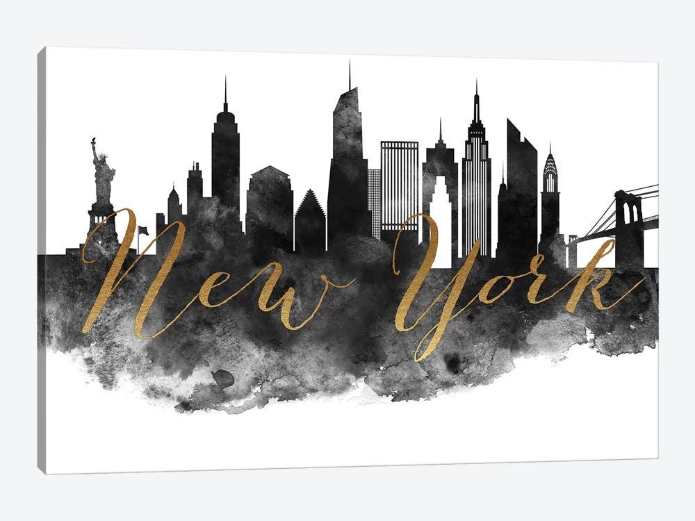 New York City in Black & White by ArtPrintsVicky 1-piece Canvas Art Print