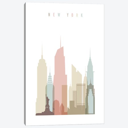 New York Pastels in White Canvas Print #APV67} by ArtPrintsVicky Art Print