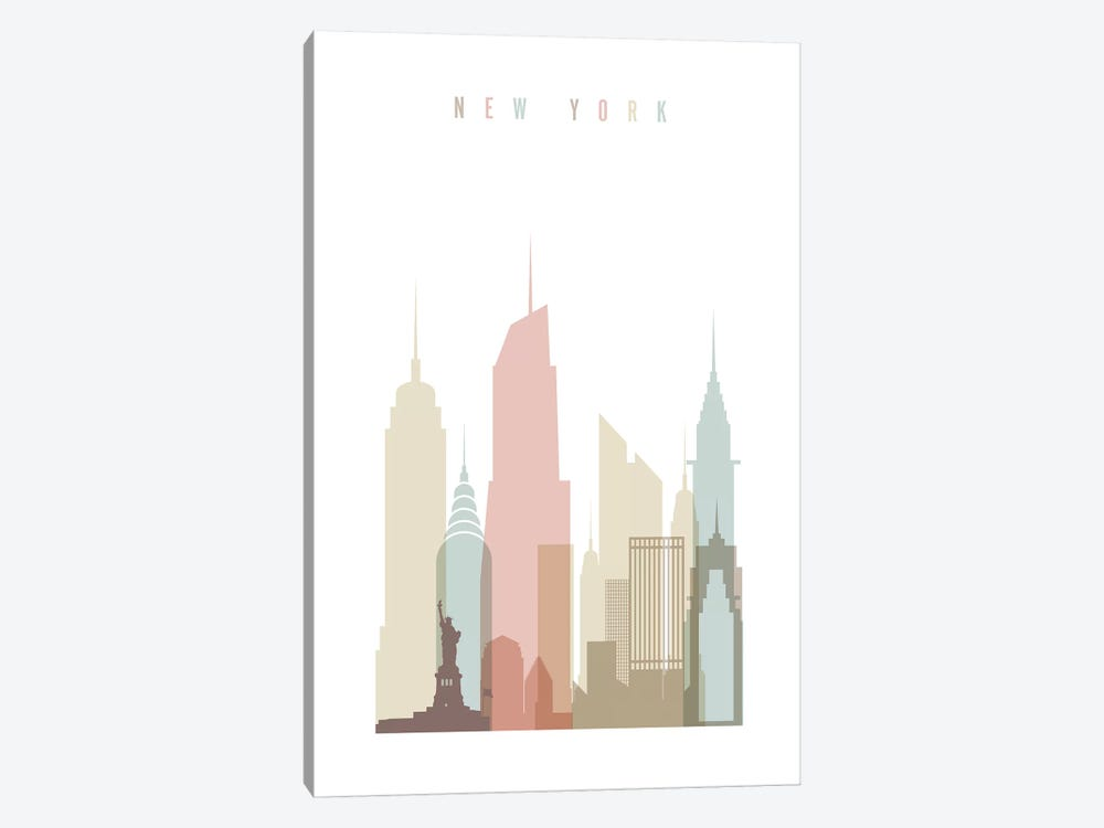 New York Pastels in White by ArtPrintsVicky 1-piece Canvas Art