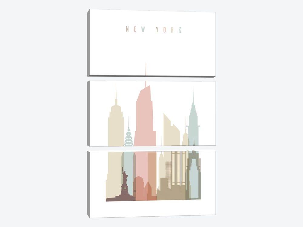 New York Pastels in White by ArtPrintsVicky 3-piece Canvas Art