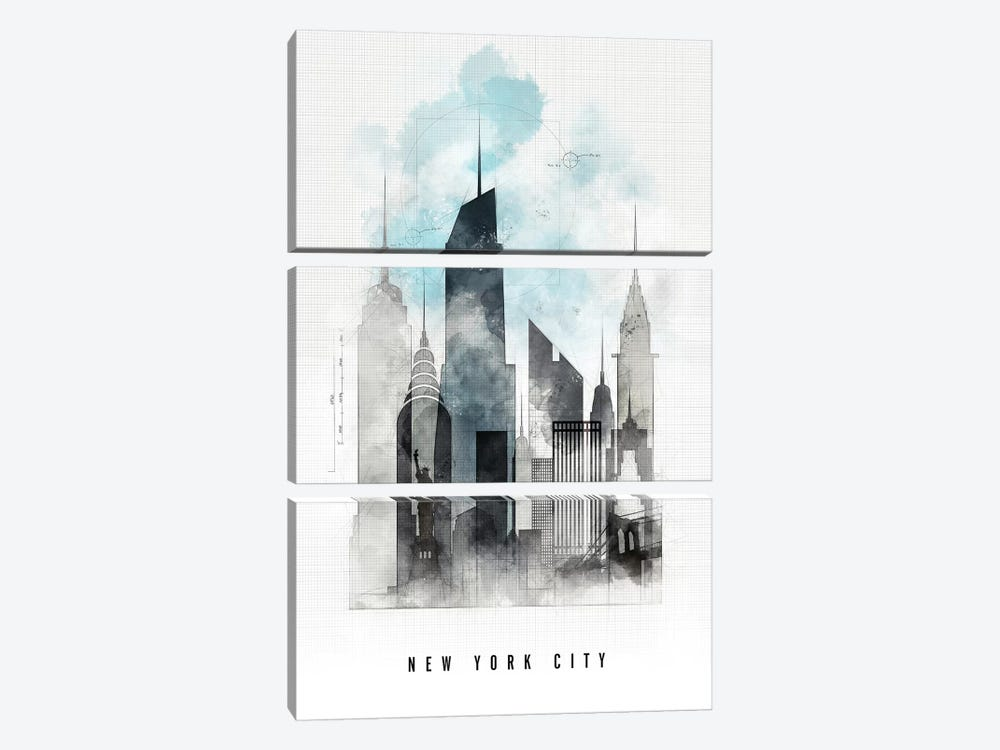 New York Urban  by ArtPrintsVicky 3-piece Canvas Art Print