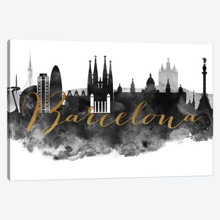 Barcelona in Black & White 3-Piece Canvas #APV6} by ArtPrintsVicky Canvas Art