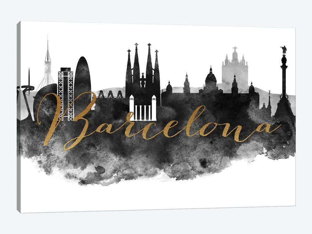 Barcelona in Black & White by ArtPrintsVicky 1-piece Canvas Art