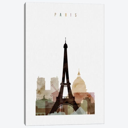 Paris Watercolor Canvas Print #APV71} by ArtPrintsVicky Canvas Print