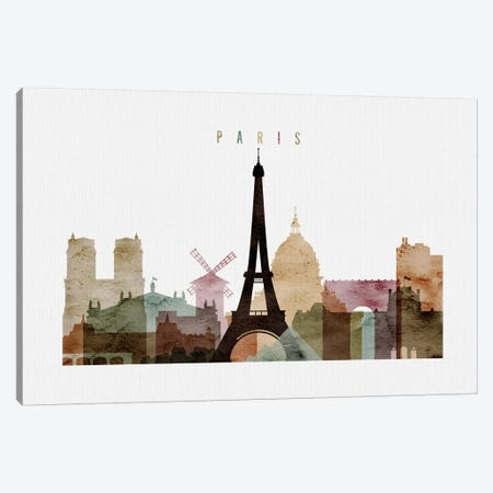 Paris Watercolor I Canvas Print #APV72} by ArtPrintsVicky Art Print