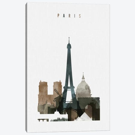Paris Watercolor II Canvas Print #APV73} by ArtPrintsVicky Art Print