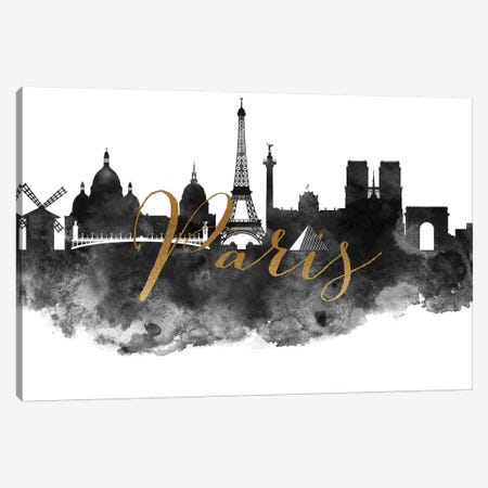 Paris in Black & White Canvas Print #APV74} by ArtPrintsVicky Canvas Wall Art