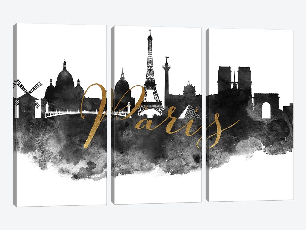Paris in Black & White by ArtPrintsVicky 3-piece Canvas Wall Art